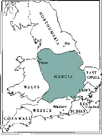 Mercia England Map.Angles Saxons Vikings